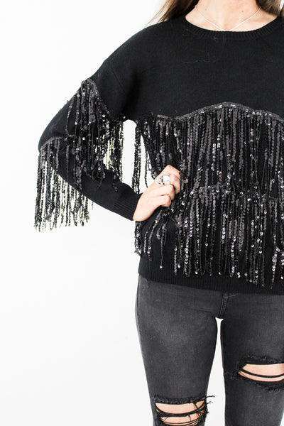 Crying Lightning Sequin Tassel Jumper