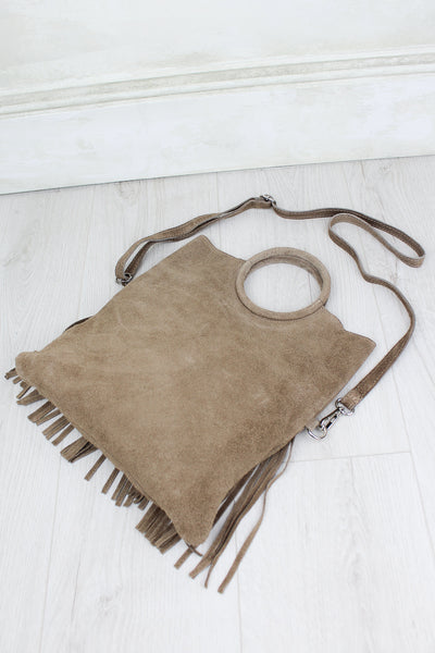 Restless Heart Genuine Suede Taupe Fringed Bag
