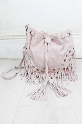 Nevada Blush Suede Bucket Bag