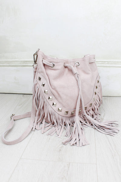Nevada Blush Genuine Suede Bucket Bag