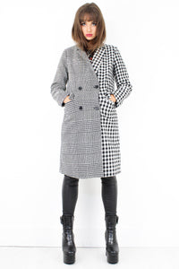 Double Groove Check Coat