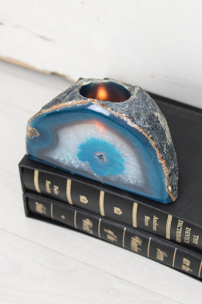 Teal Agate Tea Light Holder