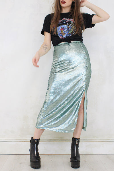 Just Crazy Love Sequin Midi Skirt