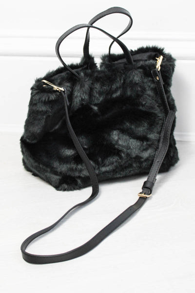 Ramble On Black Faux Fur Bag - little-lies-uk
