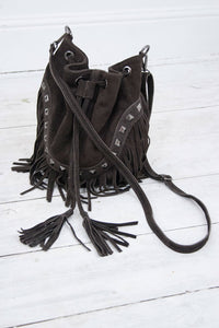Chocolate Suede Bucket Bag - little-lies-uk