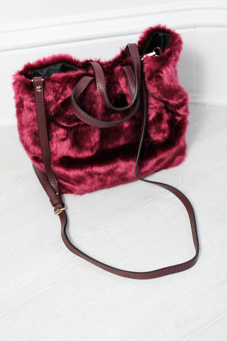 Ramble On Wine Faux Fur Bag - little-lies-uk