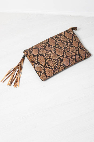Brown Sugar Snakeskin Clutch - little-lies-uk