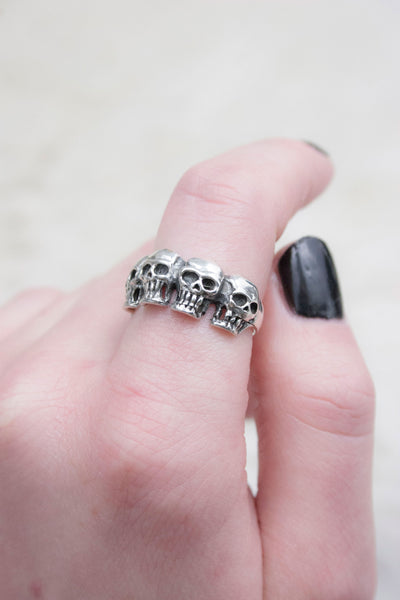 Rebel Yeah Sterling Silver Skull Band - little-lies-uk