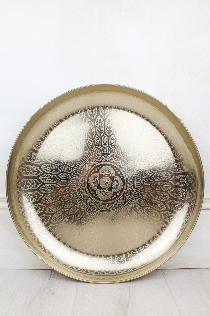 Large Gold Etched Moroccan Tray