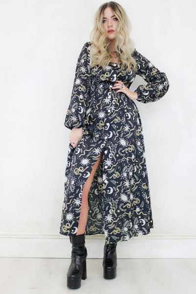 Garden of Eden Black Maxi Dress