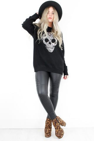 Sequin Skull Jumper