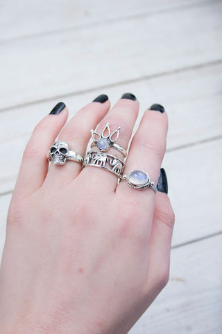 Rainbow Moonstone Crown Ring - little-lies-uk