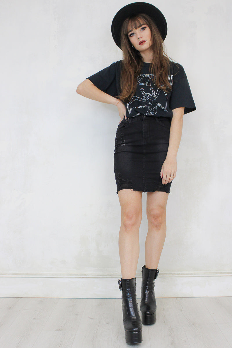 Dare Black Denim Mini Skirt