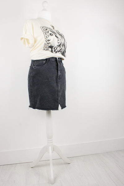 Touch Of Grey Denim Skirt | Plus
