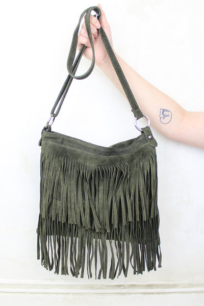 Dark Khaki Genuine Suede Fringed Bag