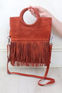 Restless Heart Genuine Suede Rust Fringed Bag