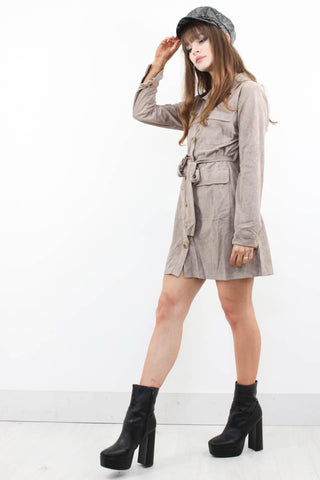 Penny Lane Suede Shirt Dress - little-lies-uk