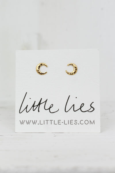 Sterling Silver Gold Moon Studs