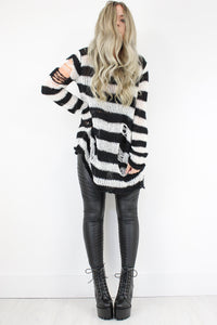 Nevermind Monochrome Distressed Stripe Knit