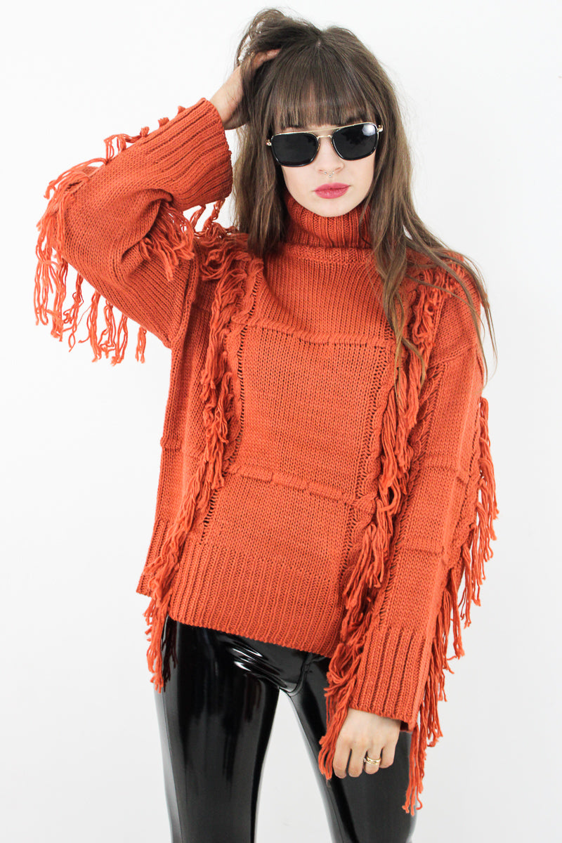 Picture This Rust Tassel Knit