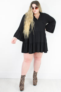 Loving You Black Smock Dress