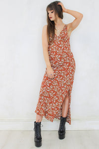 Wasted Sunsets Rust Floral Maxi Dress