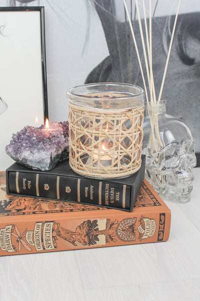 Natural Wicker Candle Holder