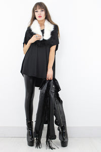 Black & White Faux Fur Stole