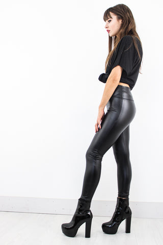 Black Night Leather Leggings