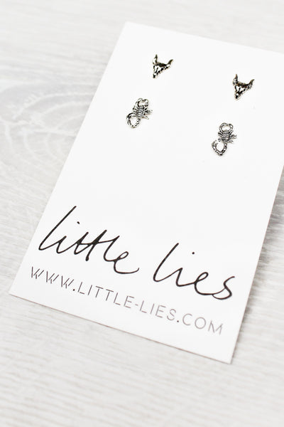 Sterling Silver Scorpion + Bison Studs