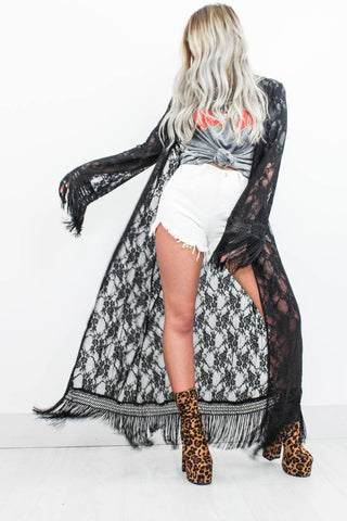 Black Magic Fringe Kimono - little-lies-uk