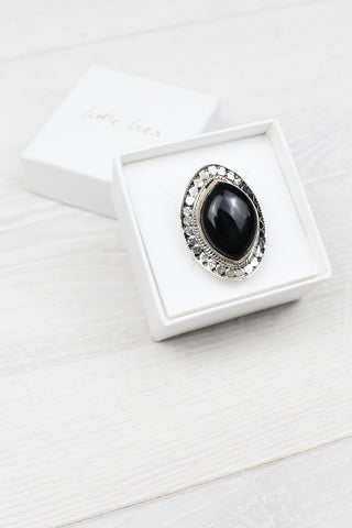 Sterling Silver Onyx Tribal Shield Ring