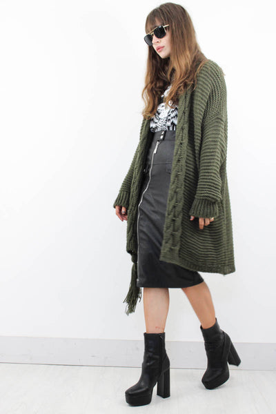 Landslide Khaki Cardigan - little-lies-uk