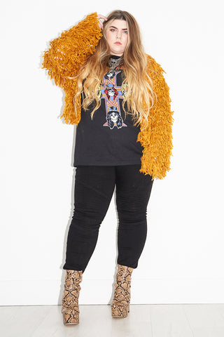 Gold Dust Woman Shaggy Cardigan | Plus