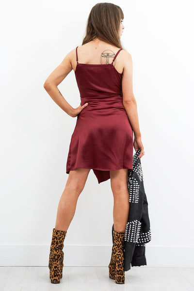 Hush Wine Slip Dress