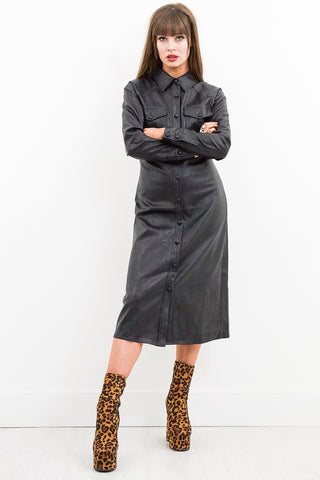 No Soul Leather Midi Dress