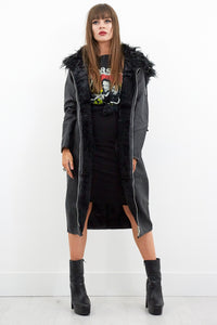 Last Nite Faux Leather Parka