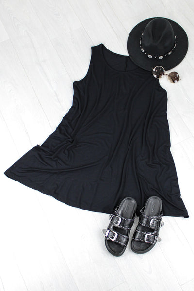 Take It Easy Black Swing Dress