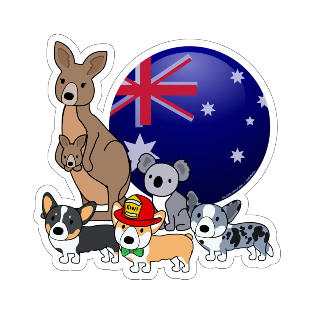 Australia Relief Benefit Kiss-Cut Stickers with A_Corgi_Named_Kiwi by Rubyfornia