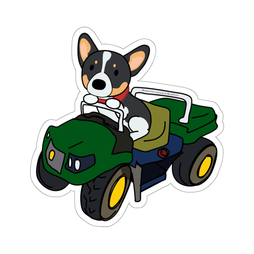 Pepper the Corgi John Deere Tractor Kiss-Cut Stickers