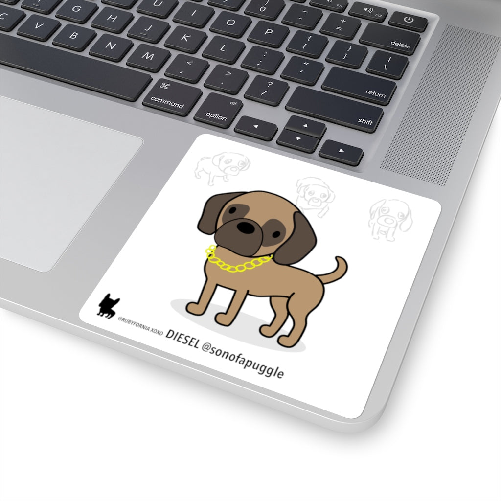 Diesel the Puggle Square Stickers