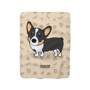 Open image in slideshow, Forest the Corgi Sherpa Fleece Blanket