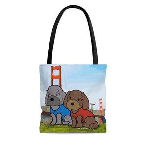 Open image in slideshow, Truman and Poe at the Golden Gate Tote Bag