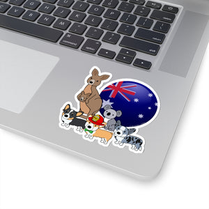 Open image in slideshow, Australia Relief Benefit Kiss-Cut Stickers with A_Corgi_Named_Kiwi by Rubyfornia