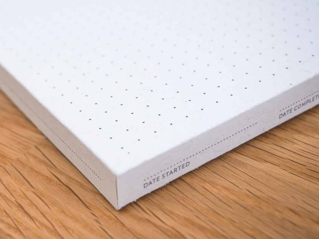 a close-up view of the date started field on the Panobook sleeve.