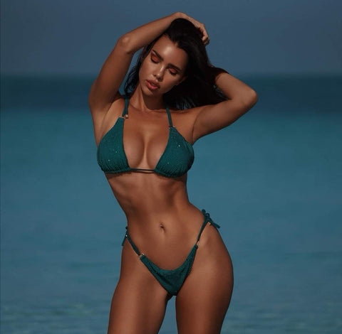 Tzenya diamond green two pieces swimwear