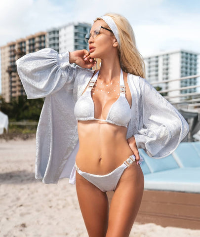 Ayanna silver two pieces swimwear set