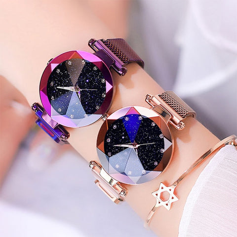 Luxury ladies watch magnet stainless steel mesh with starry fashion diamond