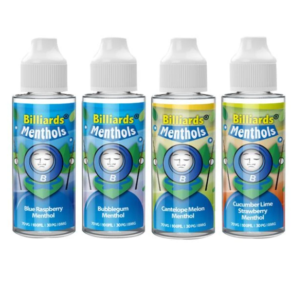 Billiards Menthol Range 70VG/30PG Shortfill 100ml