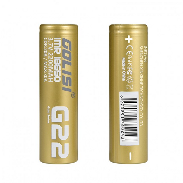 Golisi G22 18650 3.7V 2200mAh Battery 2PCS